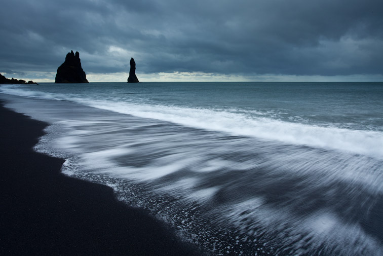 Sea stacks and surf, Dyrholaey, Iceland, June
