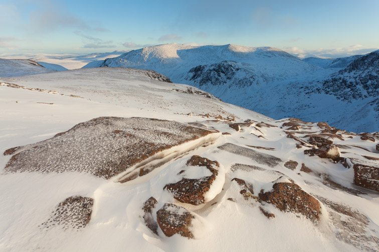 Cairngorm Mountains in winter, view to Beinn Mheadhoin, Cairngorms National Park, Scotland, December