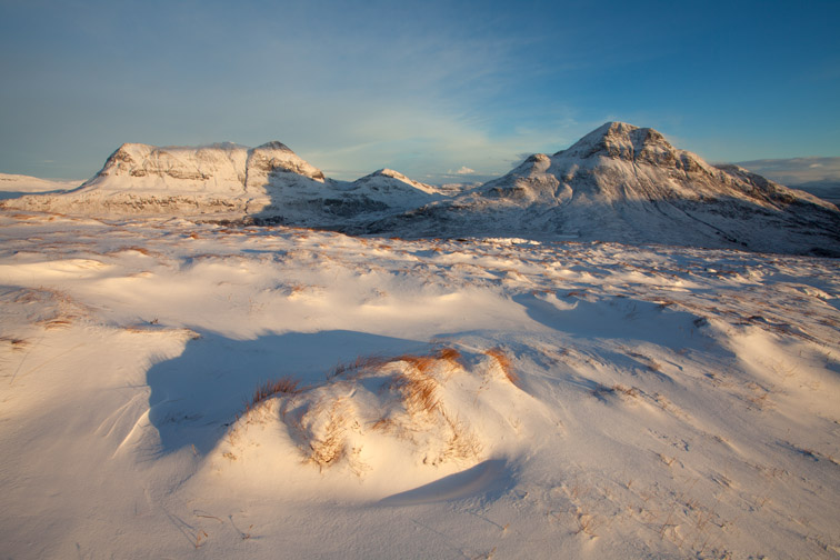 Cul Mor and Cul Beag in winter, Coigach, Wester Ross, North-west Scotland, December